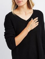 Charlotte Russe Embellished Hand Chain & Stacking Rings - 4 Pack