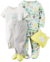 Carter's Baby Boys' or Baby Girls' Giraffe 4-Pc. Hat, Bodysuit, Footed Pants & Footed Coverall Set