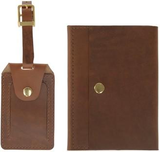Vida Vida Luxe Tan Leather Luggage Tag & Passport Holder Set