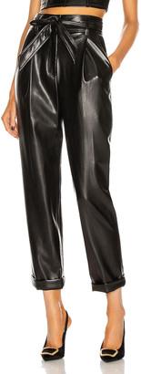 Fleur Du Mal Vegan Leather High Waist Belted Pant in Black | FWRD