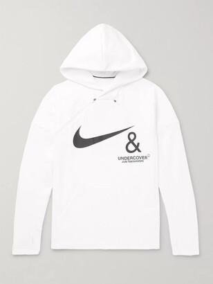 Nike + Undercover Logo-Print Mesh-Panelled Jersey Hoodie