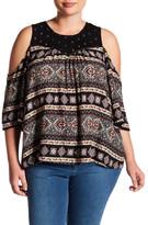 Susina Print Cold Shoulder Blouse (Plus Size)