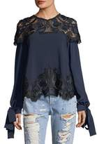 Jonathan Simkhai High-Neck Long-Sleeve Crepe Blouse w/ Lace Guipure