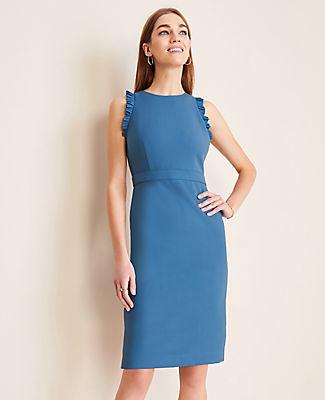 Ann Taylor Tall Pleat Trim Doubleweave Sheath Dress