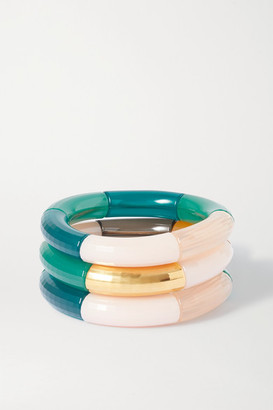 Kyoto Tango - Breakaway And Luxemburg Set Of Three Resin And Gold-plated Bangles - Green