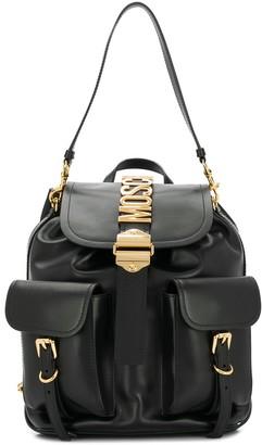 Moschino Logo-Embellished Leather Backpack