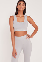 Missguided Carli Bybel Sleeveless Jersey Crop Top Grey