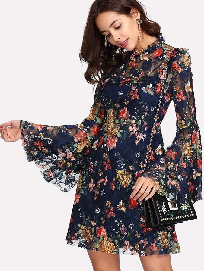 ab0801e23684 Shein Floral Lace Dresses - ShopStyle