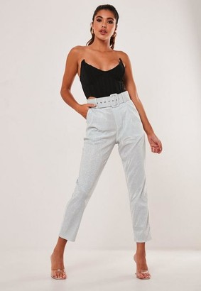 Missguided Gray Metallic Belted Cigarette Trousers
