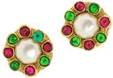 Chanel Gold-Tone Metal Gripoix Faux Pearl Clip On Earrings