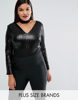 Club L Plus Sequin Body With Removable Choker