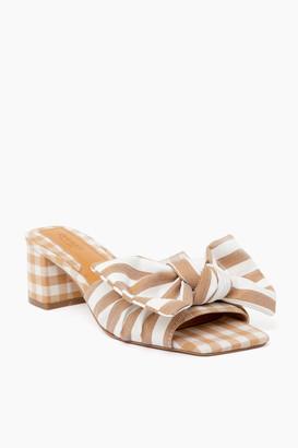 Jaggar Footwear Toffee Stripe Bow Heels