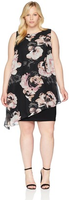 SL Fashions Women's Plus Size Sleeveless Print Asymmetric Chiffon Overlay Dress