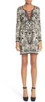 Roberto Cavalli Lace-Up Jacquard Dress