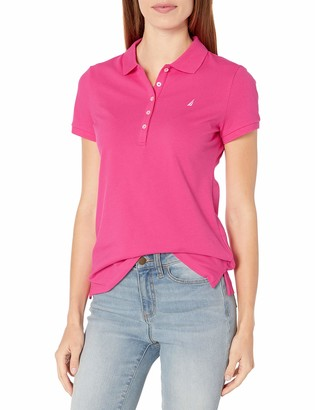 Nautica Women's 5-Button Short Sleeve Breathable 100% Cotton Polo Shirt
