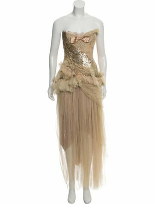 Trash Couture Strapless Embellished Gown Gold