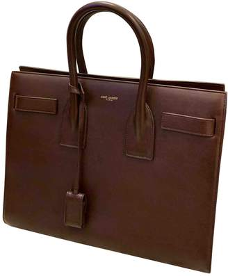 Saint Laurent Sac de Jour Burgundy Leather Handbags
