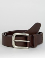 Jack Wills Classic Leather Belt In Chocolate