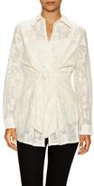 Josie Natori Stripe Textured Cotton Blouse