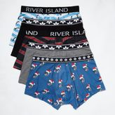 River Island MensBlue Christmas print trunks pack