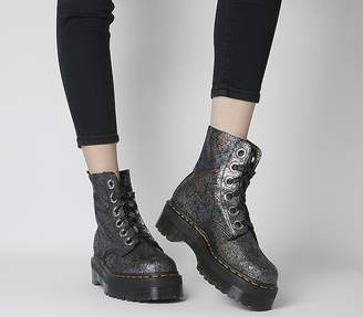 Dr. Martens Molly Boots Gunmetal Grey Cracked Iridescent