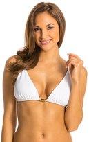 Vix Paula Hermanny Solid White Stairs Tri Bikini Top (DCup) - 8132793