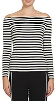 1 STATE Off-the-Shoulder Long Sleeve Striped Ribbed Knit Top