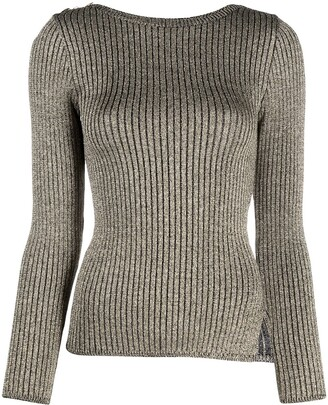 Charlott Metallic Ribbed-Knit Jumper