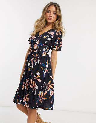 French Connection elvia meadow floral mini dress in utility blue multi