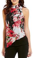 I.N. San Francisco Floral-Print Shirred Mock Neck Sleeveless Asymmetric-Hem Top