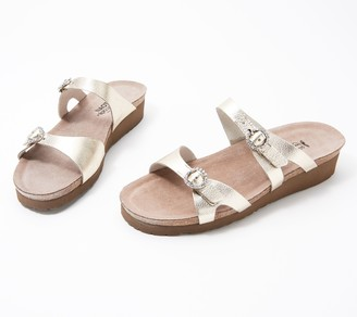 Naot Footwear Leather Embellished Buckle Slide Sandals - Kate
