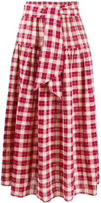 The Great Tartan Print Midi Skirt