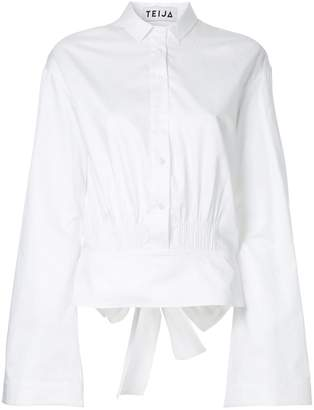 Teija bow back flare cropped shirt
