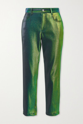 Area Lurex Straight-leg Pants - Green