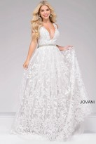 Jovani Embroidered Plunging Neckline A-line Prom Gown 48430