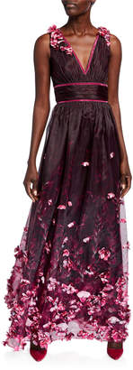Marchesa Printed Organza V-Neck Sleeveless Gown w/ 3D Flower Degrade
