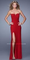 La Femme Crisscross Open Back Jersey Prom Gown