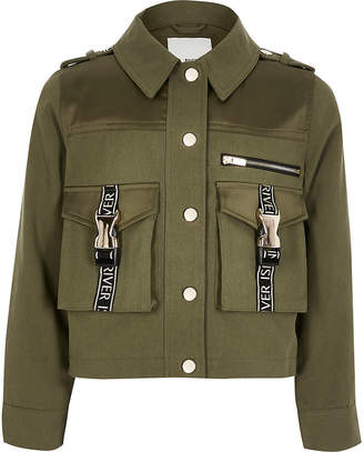 River Island Girls khaki RI utility shacket
