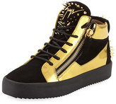 Giuseppe Zanotti Men's Studded Suede & Metallic Leather High-Top Sneaker