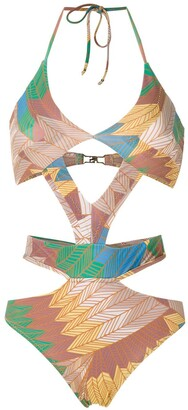 AMIR SLAMA Printed Cut Out Swimsuit