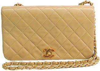 Chanel Beige Matelasse Leather Flap Shoulder Bag