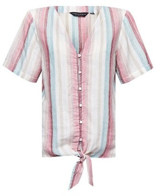 Dorothy Perkins Womens Multi Colour Striped Tie Shirt