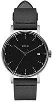Vestal 'Sophisticate 36' Swiss Quartz Stainless Steel and Leather Dress Watch, Color:Black (Model: SP36L01)