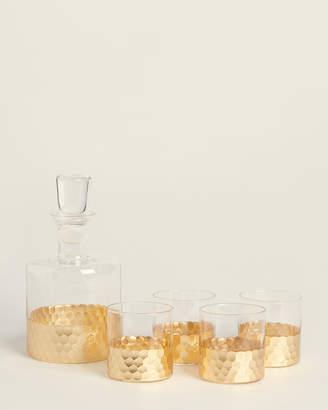 Fitz & Floyd 5-Piece Gold Daphne Whiskey Set