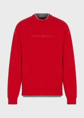 Emporio Armani Sweatshirt With Striped Inserts And Oversized Eagle