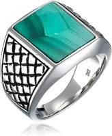 Amazon Collection Men's Sterling Checkerboard Malachite Ring, Size 9