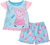 Komar Kids Blue & Pink Peppa Pig Shorts Pajama Set - Toddler