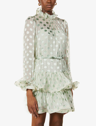 Zimmermann Polka-dot pattern silk-blend mini dress