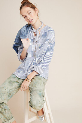 Maeve The Zoe Swing Blouse By in Blue Size XS