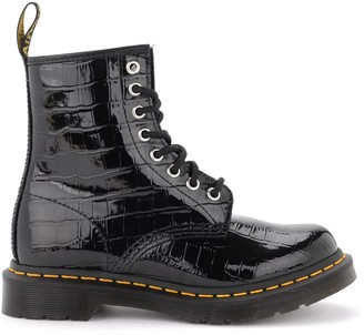 Dr. Martens 8-holes Combat Boot 1460 Made Of Black Patent Leather With Crocodile Print